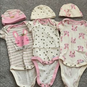 3 set of onesies with matching hats!
